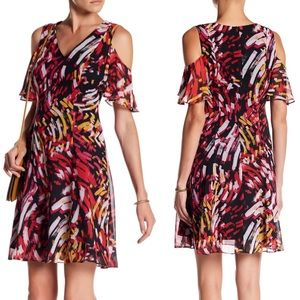 Nine West Abstract Ruffle Cold Shoulder Dress